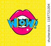 red lips saying wow.vector pop... | Shutterstock .eps vector #1187721304