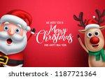 santa claus and reindeer vector ... | Shutterstock .eps vector #1187721364