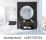 white marble and black wood...   Shutterstock . vector #1187723731