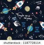 hand drawn space elements... | Shutterstock .eps vector #1187728114