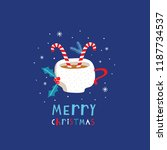 greeting card  merry christmas. ... | Shutterstock .eps vector #1187734537