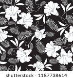 flower pattern on black | Shutterstock .eps vector #1187738614