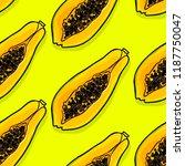 papaya vector seamless pattern. ... | Shutterstock .eps vector #1187750047