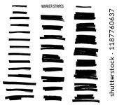 Black highlight marker stripes isolated on white background. Vector design elements.