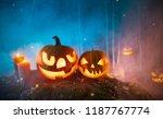 spooky halloween pumpkins in... | Shutterstock . vector #1187767774