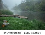 Foggy morning on the river - stock photo