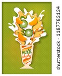 tropical fruit milkshake. paper ...   Shutterstock . vector #1187783134