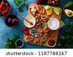 healthy vegetarian open faced...   Shutterstock . vector #1187788267