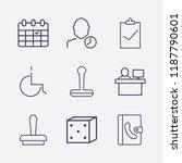 outline 9 desk icon set. stamp  ... | Shutterstock .eps vector #1187790601
