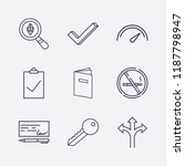 outline 9 sign icon set. no...