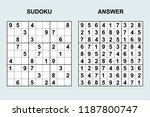 vector sudoku with answer 186.... | Shutterstock .eps vector #1187800747