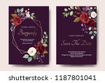 set of card with flower rose ... | Shutterstock .eps vector #1187801041