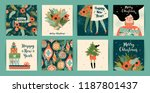 Stock vector christmas and happy new year templates trendy retro style vector design element 1187801437