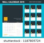 wall calendar planner template... | Shutterstock .eps vector #1187805724