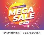 mega sale banner template... | Shutterstock .eps vector #1187810464