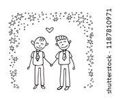happy teenage gay couple. boys... | Shutterstock .eps vector #1187810971