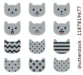 icons of cats for scrapbooking | Shutterstock .eps vector #1187819677