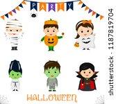 halloween party kids character... | Shutterstock .eps vector #1187819704