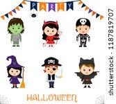 halloween party kids character... | Shutterstock .eps vector #1187819707