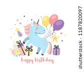 childrens birthday card with... | Shutterstock .eps vector #1187820097