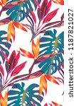 tropical bright pattern with... | Shutterstock .eps vector #1187821027