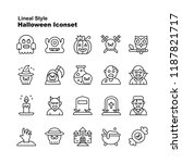 halloween icons collection in... | Shutterstock .eps vector #1187821717