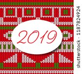 happy new year card 2019... | Shutterstock .eps vector #1187824924