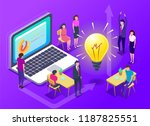 people work in a team and... | Shutterstock .eps vector #1187825551