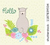 hand drawn card with llama with ... | Shutterstock .eps vector #1187839534