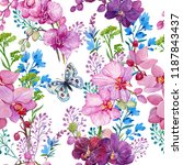 seamless pattern with butterfly ... | Shutterstock . vector #1187843437