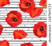 red poppies on a white... | Shutterstock .eps vector #1187845174