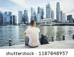 young man  traveler  with... | Shutterstock . vector #1187848957
