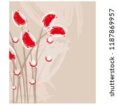 red flowers resemble book cover ... | Shutterstock .eps vector #1187869957