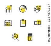 economy icons set with task...