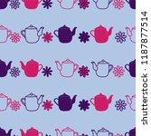 purple teapot flower seamless... | Shutterstock .eps vector #1187877514