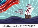 happy columbus day background... | Shutterstock .eps vector #1187879317