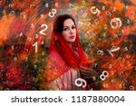 woman and numerology | Shutterstock . vector #1187880004