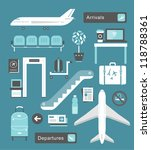vector set of cute airport... | Shutterstock .eps vector #118788361