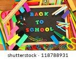 small chalkboard with school... | Shutterstock . vector #118788931