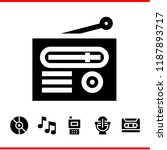 song icon set. radio microphone ... | Shutterstock .eps vector #1187893717