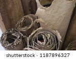 the old papyrus is rolled up... | Shutterstock . vector #1187896327