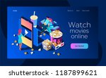 watch the movie online with a... | Shutterstock .eps vector #1187899621