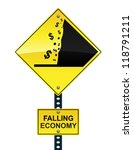 falling economy road sign  ... | Shutterstock . vector #118791211