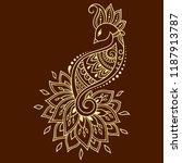 mehndi flower pattern with... | Shutterstock .eps vector #1187913787