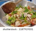 thai spicy salad in aluminum...