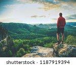 success man on a summit observe ... | Shutterstock . vector #1187919394
