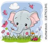 Cute Cartoon Elephant On A...