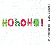 ho ho ho lettering with red and ...   Shutterstock .eps vector #1187925067