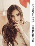 thoughtful girlfriend.... | Shutterstock . vector #1187928304