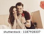 feeling grateful. smiling woman ... | Shutterstock . vector #1187928337